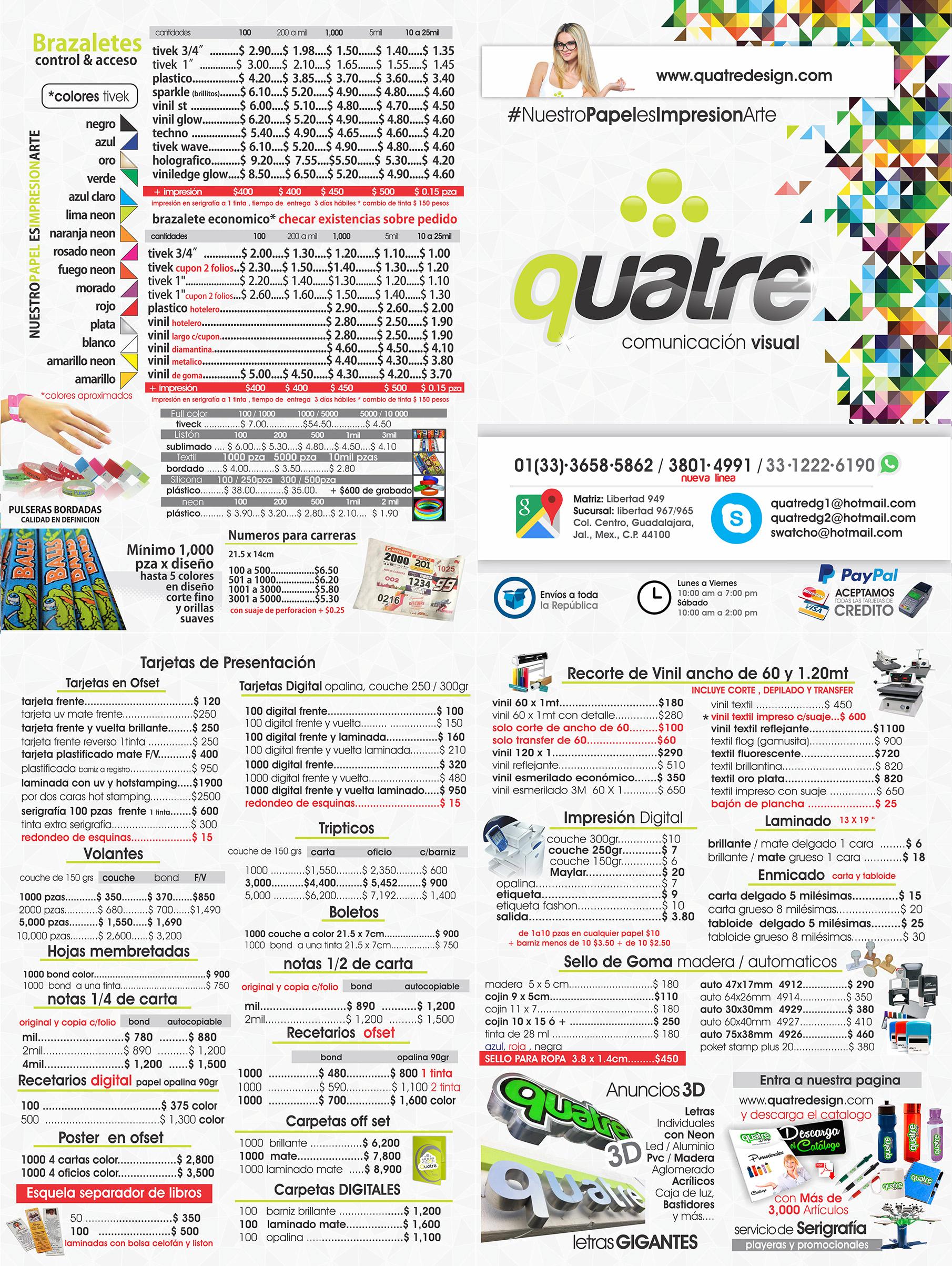 lista de precios - Quatre Design